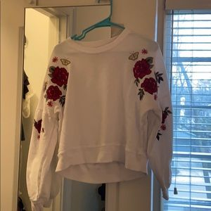 Hollister white floral top